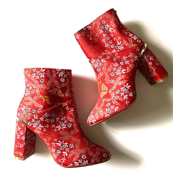 wholesale outlet outlet store complete range of articles Ted Baker Kyoto Red Ishbel booties heel boots NEW NWT